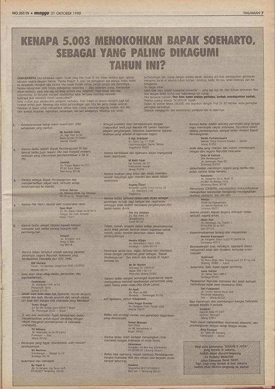 Peringkat yang menista di Tablid Monitor 15 Oktober 1990